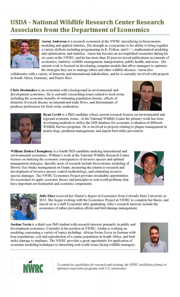 National Wildlife Research Center Associates from Economics 2016