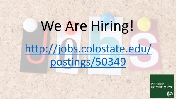 We are hiring an Assistant Professor. Go to jobs.colostate.edu/postings/50349